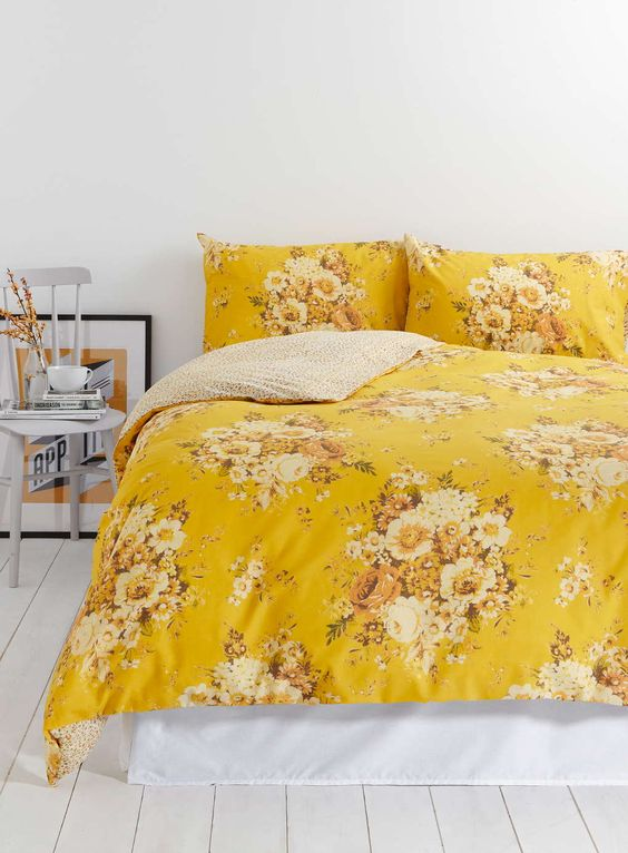 yellow floral print bedding will make your bedroom cheerful and gorgeous