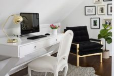 31 dalmatian print rug for highlighting a neutral girlish home office