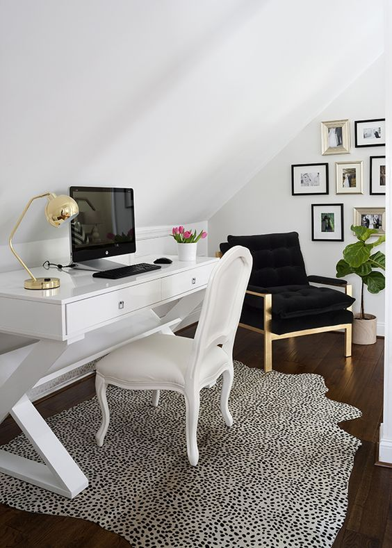 dalmatian print rug for highlighting a neutral girlish home office