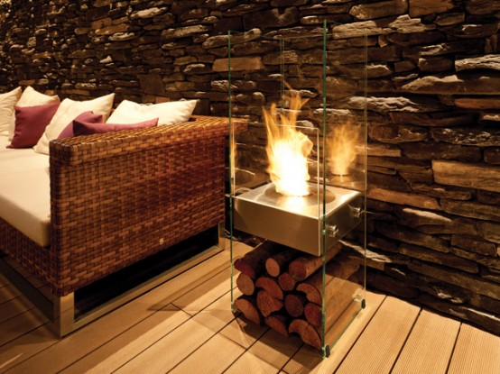 Gas fireplace by EcoSmart Fire (via www.digsdigs.com)