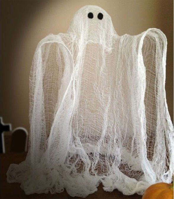 making funny ghosts from cheesecloth is an awesome craft project idea for kids