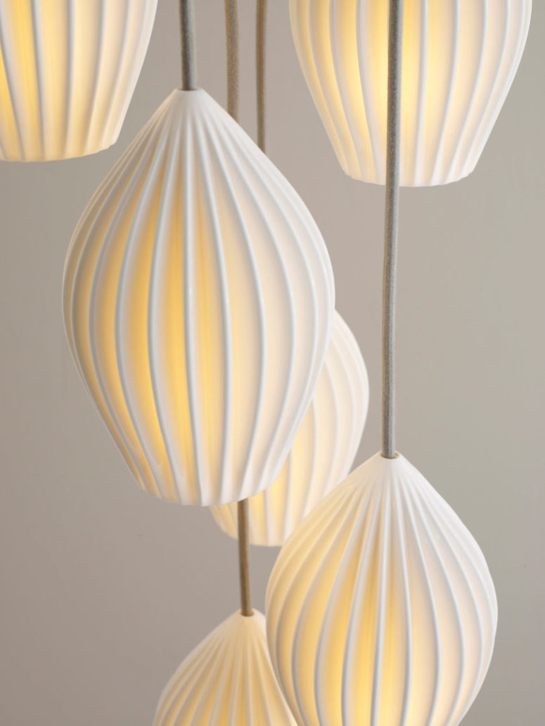 Bone China Fin lamps are inspired by traditional Chinese lanterns and are handmade using British crafting techniques