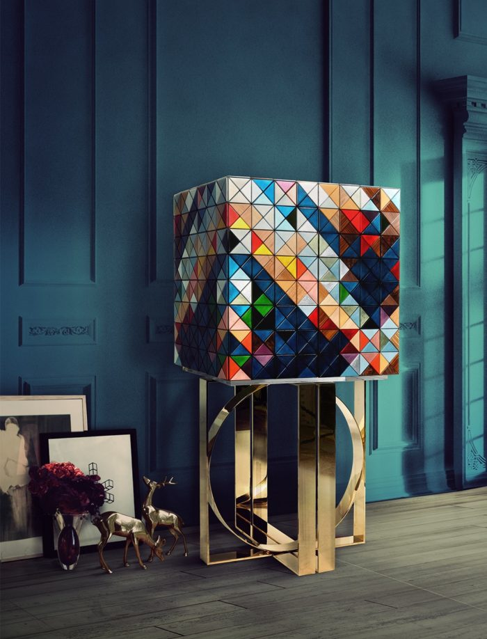 Luxurious Pixel cabinet is made of 1088 wooden tirangles and will be a real show stopper in any space