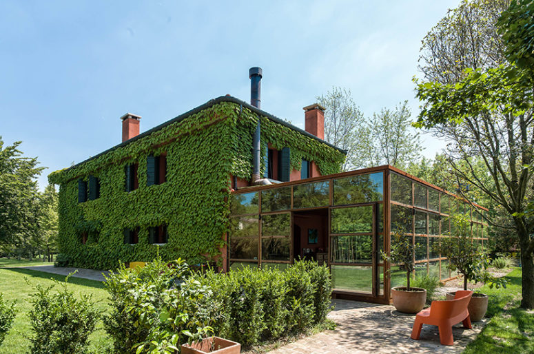 Italian Country House Covered With Living Vines