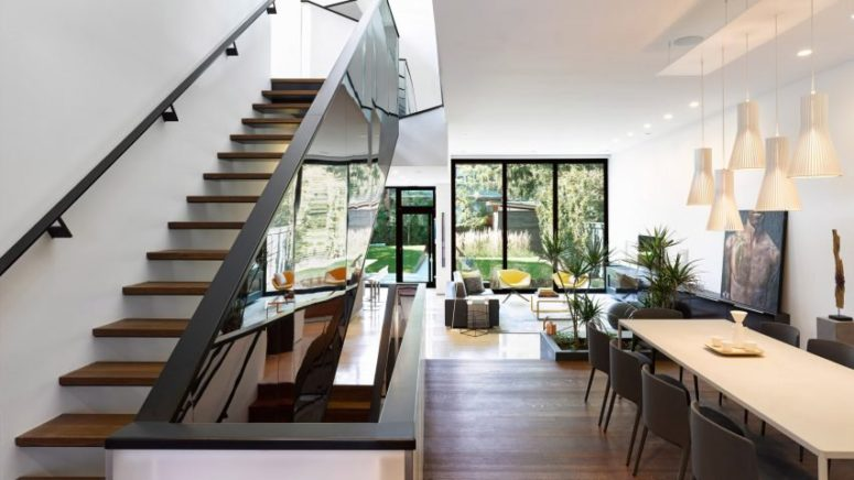 Modern Suburban Home With A Mirrored Staircase