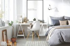 02 a modern Scandinavian bedroom with a workspace next to the bed, a sawhorse desk is a practical option