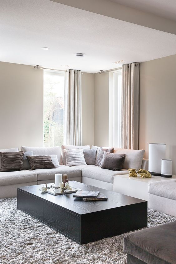a modern clean space done in neutrals with a black coffee table and brown pillows