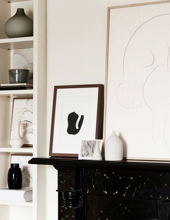 Art, both owner's and other artists', is the main decor theme of this space