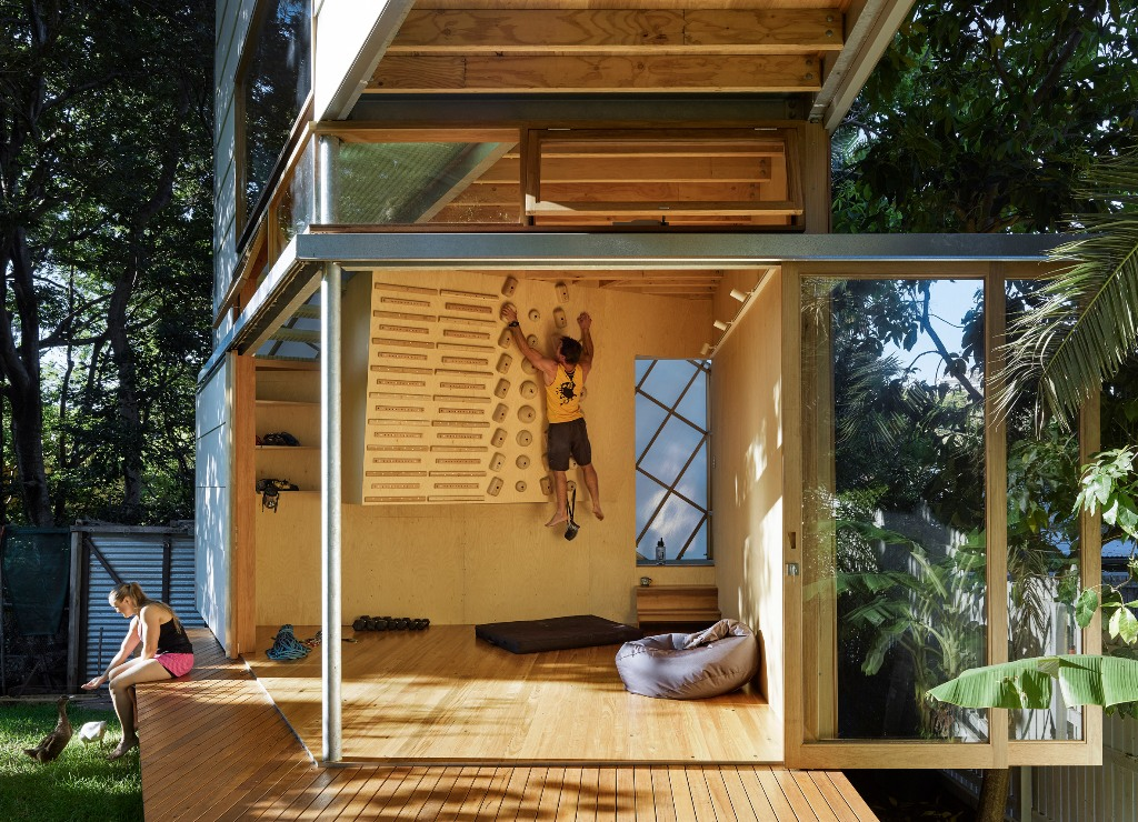 home gym in a treehouse