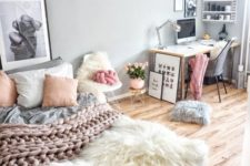 03 a girlish bedroom with a modern glam feel and a working space in the corner