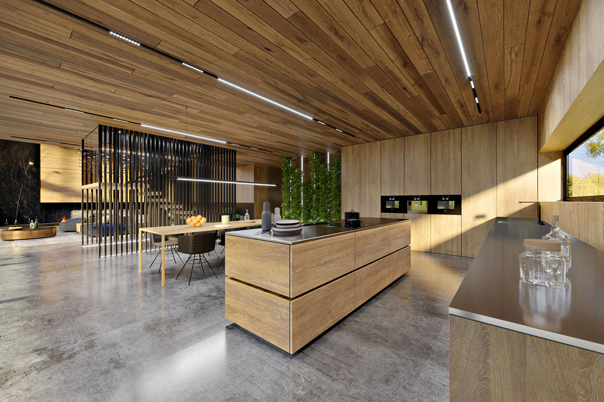 The kitchen is fully clad with light colored oak, the countertops are of stainless steel