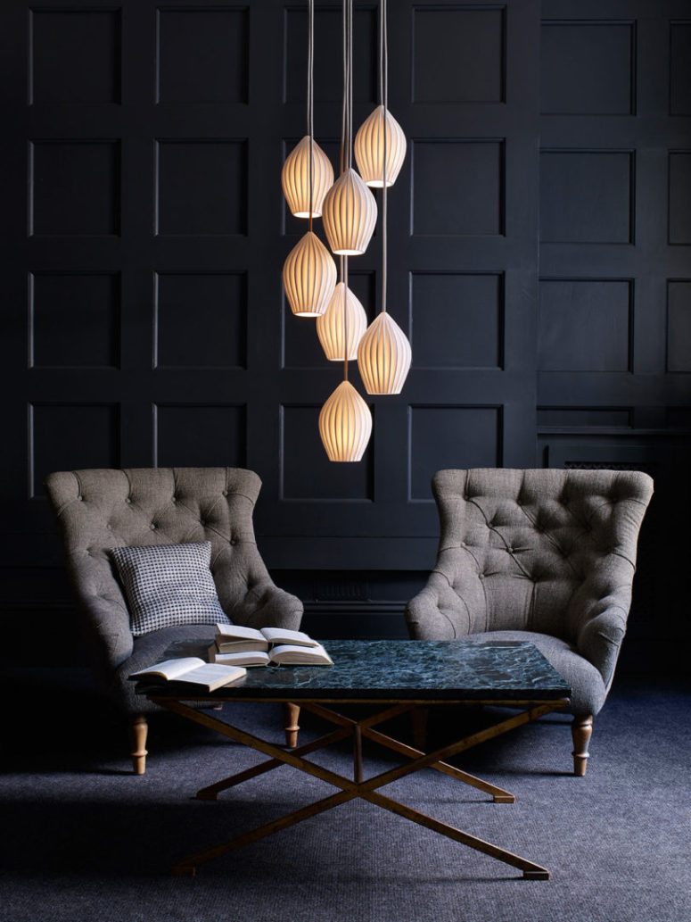 The pendant lamps can be hung in clusters of three, five, seven and more pieces to maximize the light