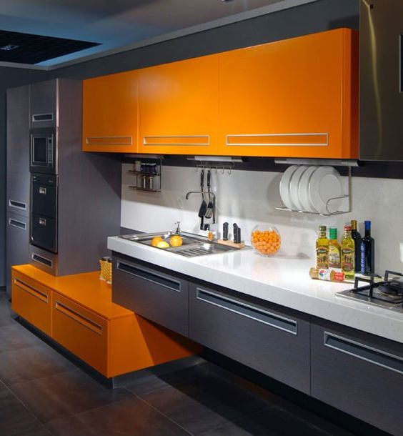 Grey And Orange >> 27 Cheerful Orange Kitchen Decor Ideas Digsdigs