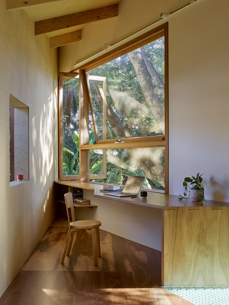 stylish home office in a treehouse