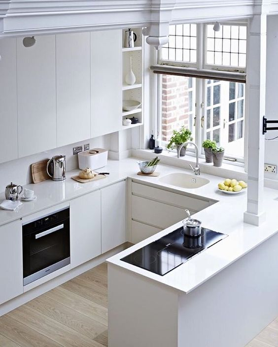 a modern matte white kitchen with small cooking tabletops