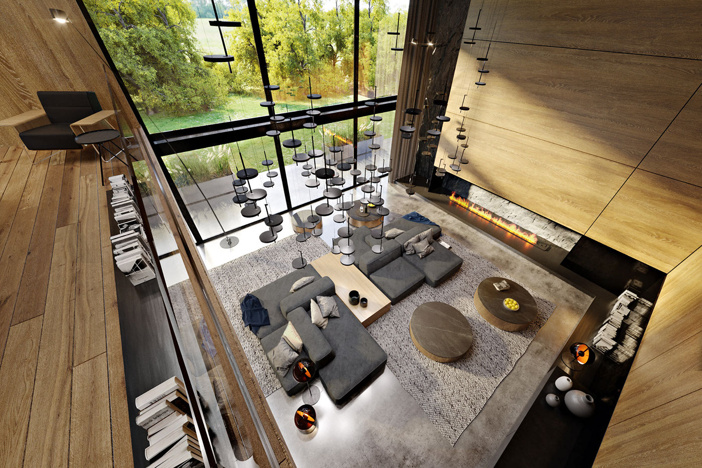 The gorgeous views and a double height ceiling create an impression of a vast space and connection to outdoors