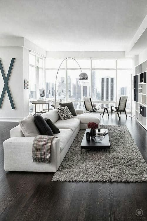 Modern Living Room Ideas Part - 47: White And Grey Are Main Colors For This Room,thereu0027s Also A Makeup Nook By