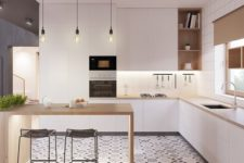 07 a modern space with white cabinets, wooden counters and a kitchen island and a cool mosaic tile floor