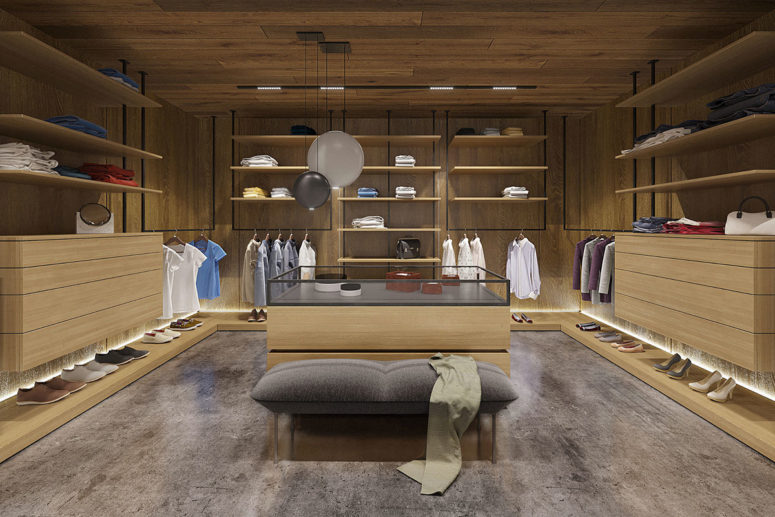 You can also see a walk-in closet with the same decor and lots of light