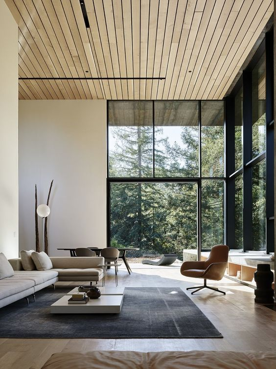A Chic Modern Space Connected To Outdoors, Clean Lined Furniture And Glazed  Walls