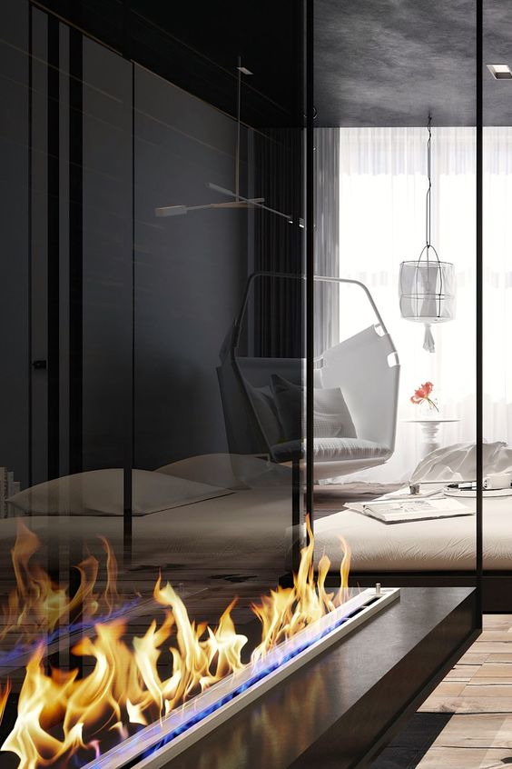 a large ethanol fireplace looks stunning and will be an eye-catchy item for any space