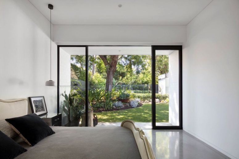 The bedrooms form a separate zone with its own beautiful connected to one section of the garden