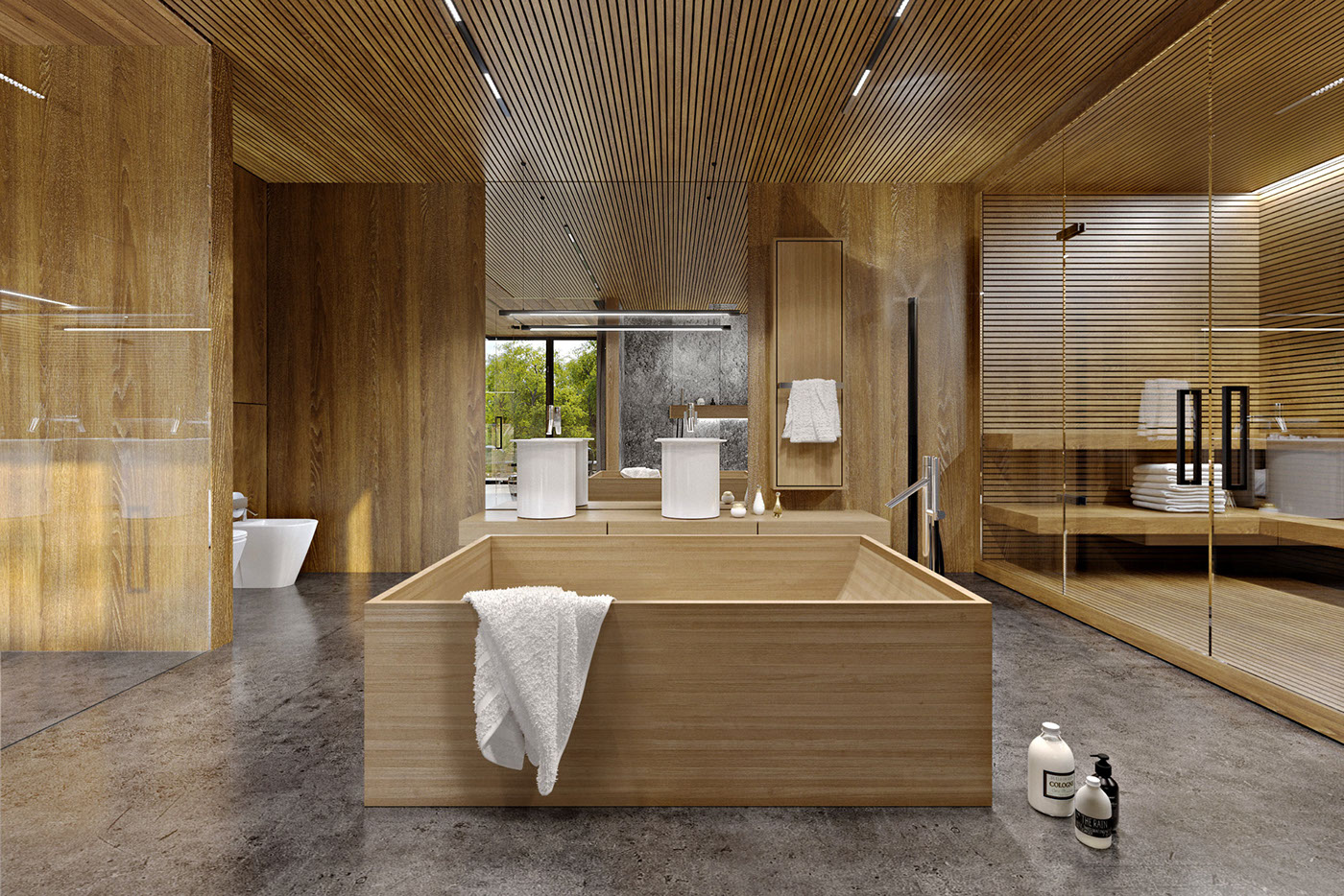 The designers also added a steam room fully clad with oak, too