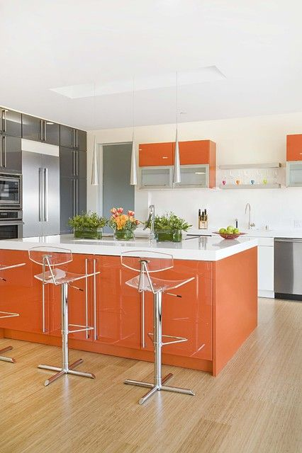 A Burnt Orange Kitchen Island And Some Cabinets Spruce Up Neutral Grey White E