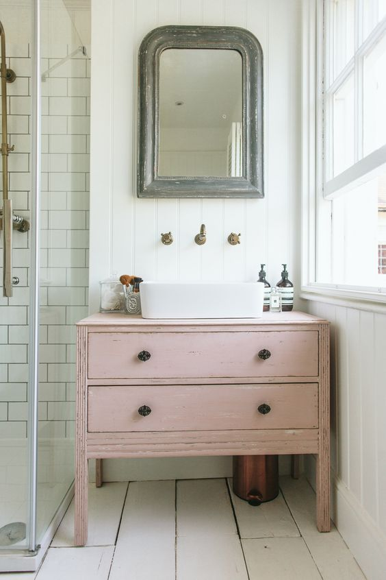 a shabby chic pink vanity can be DIYed of an old sideboard