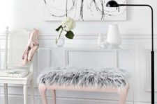 14 a pink ottoman with grey faux fur for a girlish bedroom
