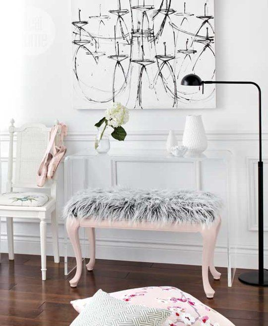 a pink ottoman with grey faux fur for a girlish bedroom