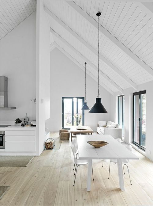 a Scandinavian space with a white vaulted ceiling covered with wood and lamps that highlight it