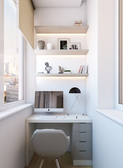 a small workspace in the balcony, a built in desk and shelves with lighting