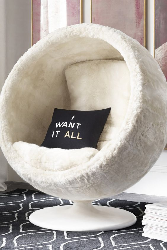 orbit faux fur chair with cushions looks incredibly comfortable and inviting