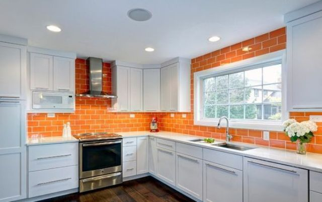 Kitchen Backsplash Orange 27 cheerful orange kitchen decor ideas - digsdigs