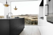 b&w kitchen with a view