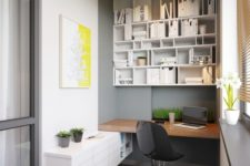 16 a modern bold workspace with enough storage and a built-in desk