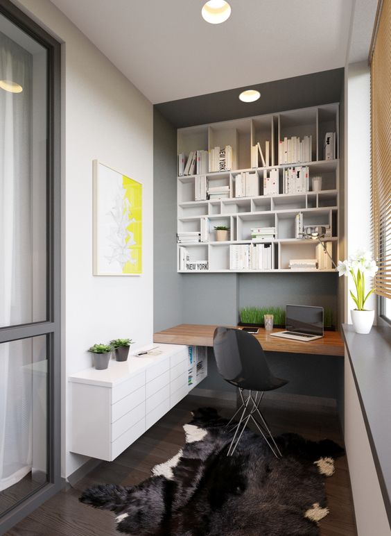 a modern bold workspace with enough storage and a built-in desk