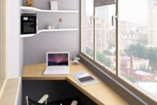 18 a small creative home office with a geometric built-in desk and matching shelves