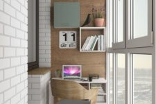 20 an industrial home office with a small desk, built-in shelves and a modern chair