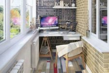 21 a bold anad creative home office with a unique floor and a statement wall
