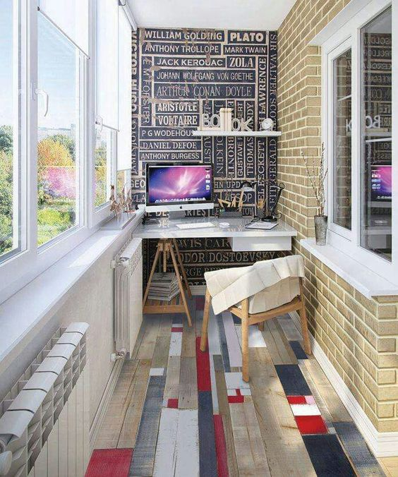 a bold anad creative home office with a unique floor and a statement wall