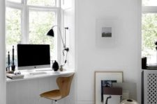 23 a Scandinavian bedroom windowsill is used as a home office space