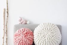 23 cozy chunky knit pillows for a girlish bedroom
