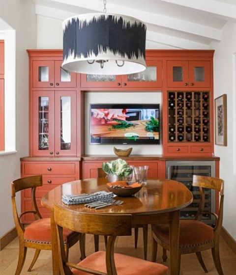 tiny burnt orange kitchen is a chic and bold idea you may try, add natural wood for a cooler look
