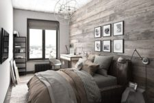 25 a bedroom with a wall and floor of reclaimed wood to feel cozier here