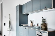 25 a modern blue kitchen with no handles and all the rest in white not to get a moody space
