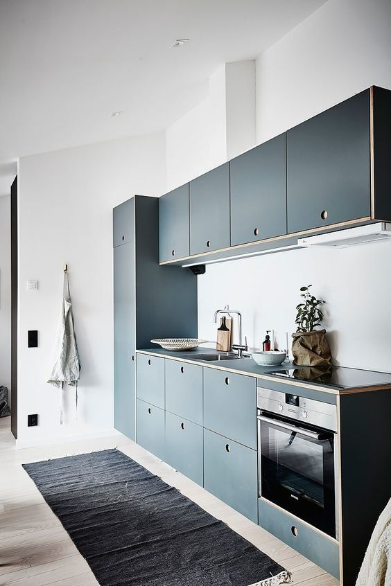a modern blue kitchen with no handles and all the rest in white not to get a moody space