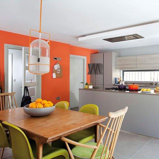 27 cheerful orange kitchen decor ideas digsdigs for Orange kitchen walls