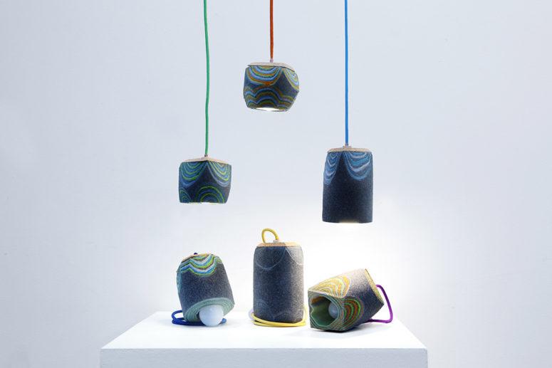 Feltology lamp collection by Lorenzo Polo (via design-milk.com)